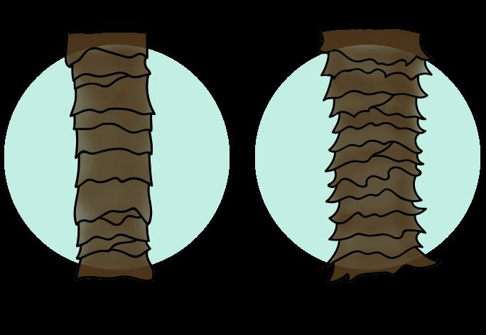 Illustration på låg porositet och hög porositet
