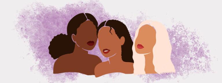 Lockigt.nu tre kvinnor med afro, lockigt och vågigt